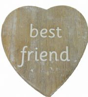 HEART SHAPED 'BEST FRIEND'  SHABBY CHIC WOODEN COASTER GREAT GIFT..